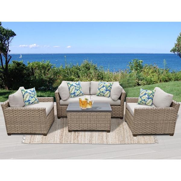 Monterey 5 Piece Outdoor Wicker Patio Furniture Set 05b. Opens flyout.