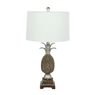 Benzara Artistic Pineapple Silver and Brown Polystone Lamp