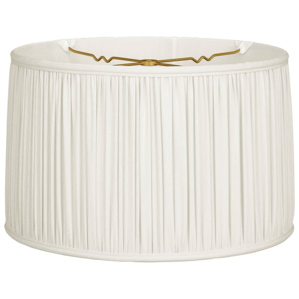 Royal Designs Shallow Drum Gather Pleat Basic Lamp Shade, White, 17 x 18 x 11.5