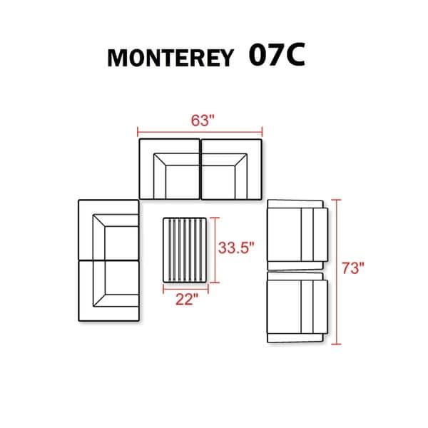 Monterey 7 Piece Outdoor Wicker Patio Furniture Set 07c