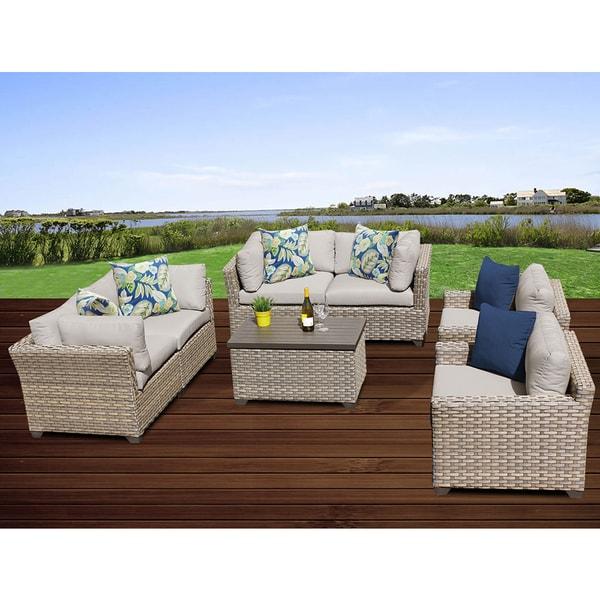 Monterey 7 Piece Outdoor Wicker Patio Furniture Set 07c. Opens flyout.
