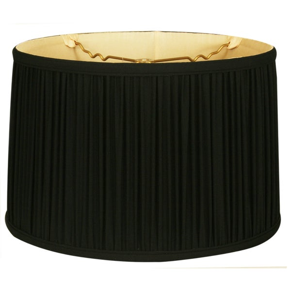 Royal Designs Shallow Drum Gather Pleat Basic Lamp Shade, Black, 11 x 12 x 8.5