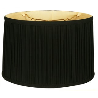 Royal Designs Shallow Drum Gather Pleat Basic Lamp Shade, Black, 9 x 10 x 7