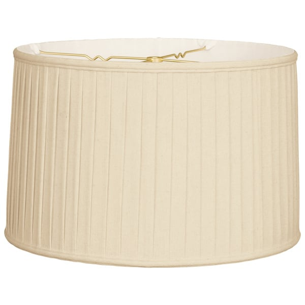 Royal Designs Shallow Drum Side Pleat Basic Lamp Shade, Beige, 17 x 18 x 11.5