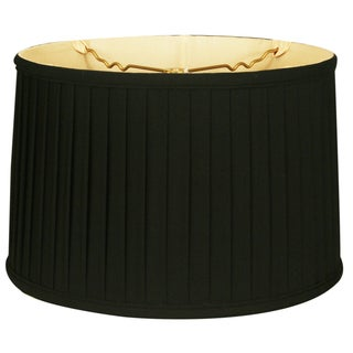 Royal Designs Shallow Drum Side Pleat Basic Lamp Shade, Black, 15 x 16 x 10