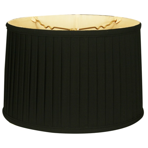 Royal Designs Shallow Drum Side Pleat Basic Lamp Shade, Black, 11 x 12 x 8.5