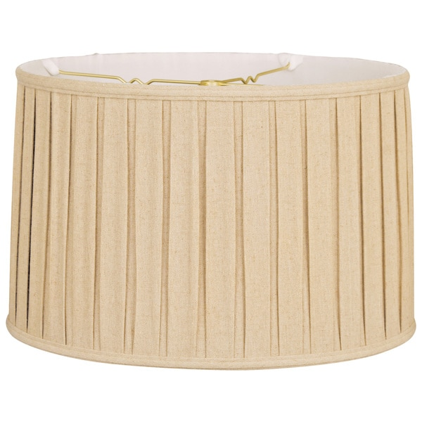 Royal Designs Shallow Drum English Box Pleat Basic Lamp Shade Linen Beige 17 X