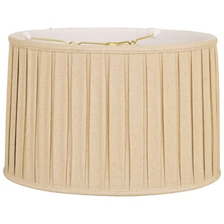 Royal Designs Shallow Drum English Box Pleat Basic Lamp Shade, Linen Beige, 13 x 14 x 9