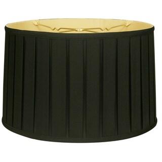 Royal Designs Shallow Drum English Box Pleat Basic Lamp Shade, Black, 11 x 12 x 8.5