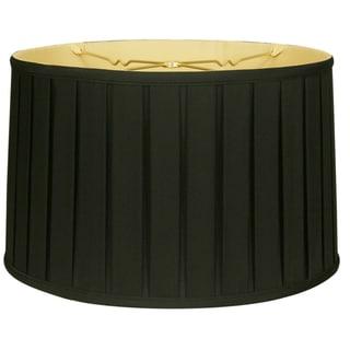 Royal Designs Shallow Drum English Box Pleat Basic Lamp Shade, Black, 15 x 16 x 10