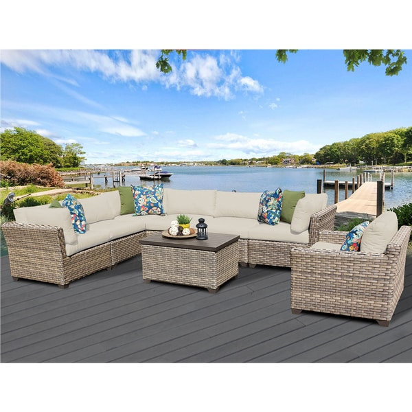 Monterey 8 Piece Outdoor Wicker Patio Furniture Set 08b. Opens flyout.