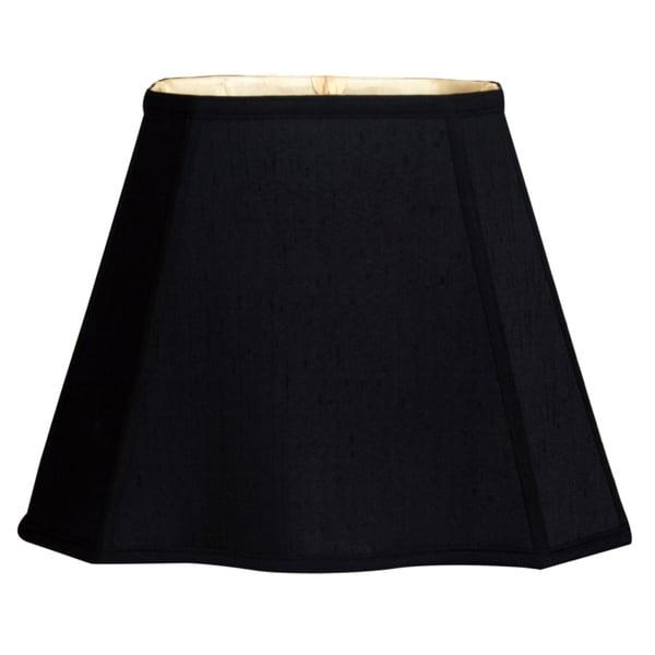 Royal Designs Fancy Bottom Rectangle Basic Lamp Shade, Black/Gold 7 x 10 x 12.25 x 18 x 13.25
