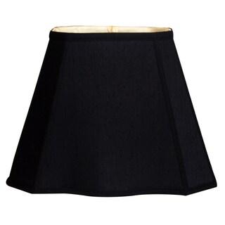 Royal Designs Fancy Bottom Rectangle Basic Lamp Shade, Black/Gold 7 x 9 x 10.25 x 16 x 12.25