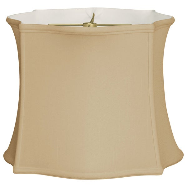 Royal Designs Scallop Top & Bottom Square Basic Lamp Shade, Antique Gold, 14 x 15 x 11