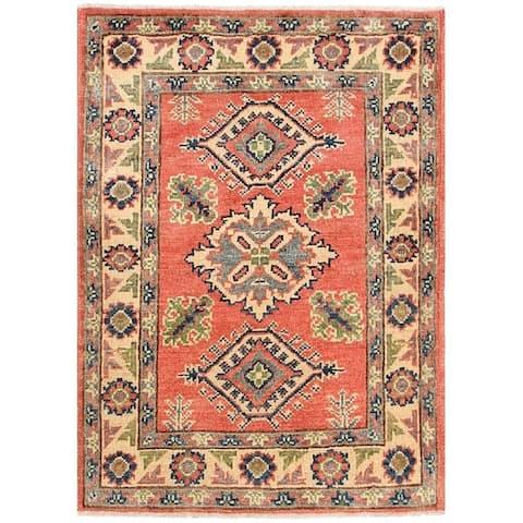 Handmade One-of-a-Kind Vegetable Dye Kazak Wool Rug (Afghanistan) - 2'2 x 2'11