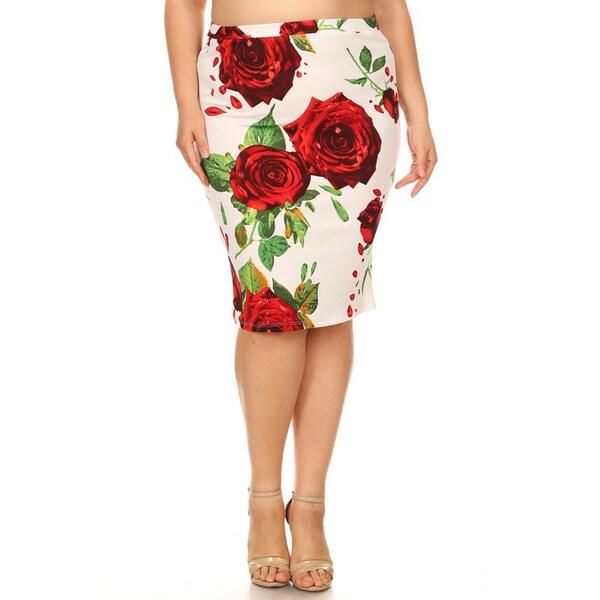 3226d0d07c1 Shop Women s Plus Size Floral Pattern Pencil Skirt - On Sale - Free ...