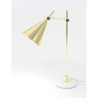 Benzara Classy Golden Finish Metal Marble Task Lamp