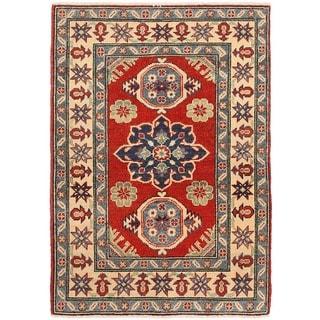 Herat Oriental Afghan Hand-knotted Vegetable Dye Kazak Wool Rug (2'7 x 3'10)
