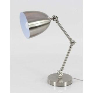 Benzara Elegantly Styled Silver Metal Task Lamp