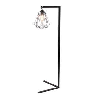 Benzara Black Iron Metal Wire Floor Lamp