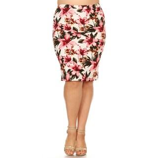 Women's Plus Size Floral Pattern Pencil Skirt
