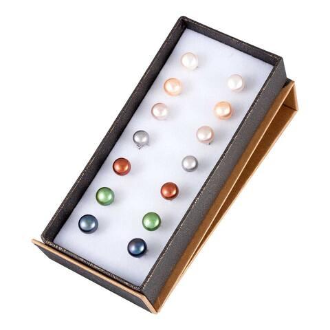 Freshwater Pearl Earrings in Sterling Silver (7 Pair Set)