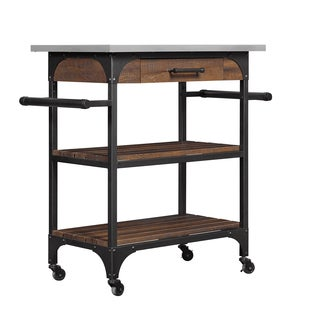 Caraway Kitchen Cart with Stainless Steel Top, Saw Cut Espresso