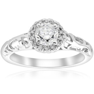 14k White Gold 5/8ct TDW Diamond Vintage Halo Filigree Engagement Ring (I-J,I2-I3)