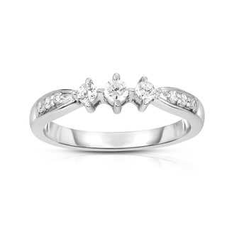 Noray Designs 14K White Gold 3-Stone Diamond (0.25 Ct, G-H Color, I1-I2 Clarity) Engagement Ring - White G-H