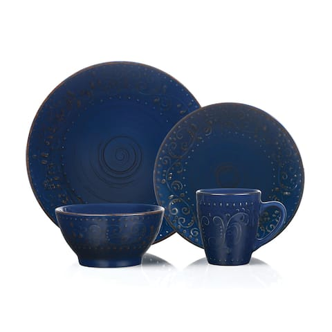 16 Piece Round Stoneware Dinnerware Set Distressed Dark Blue Lorren Home Trends