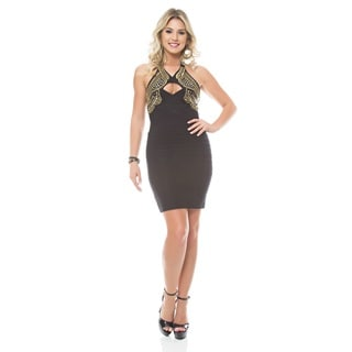 Sara Boo Jeweled Halter Bandage Dress