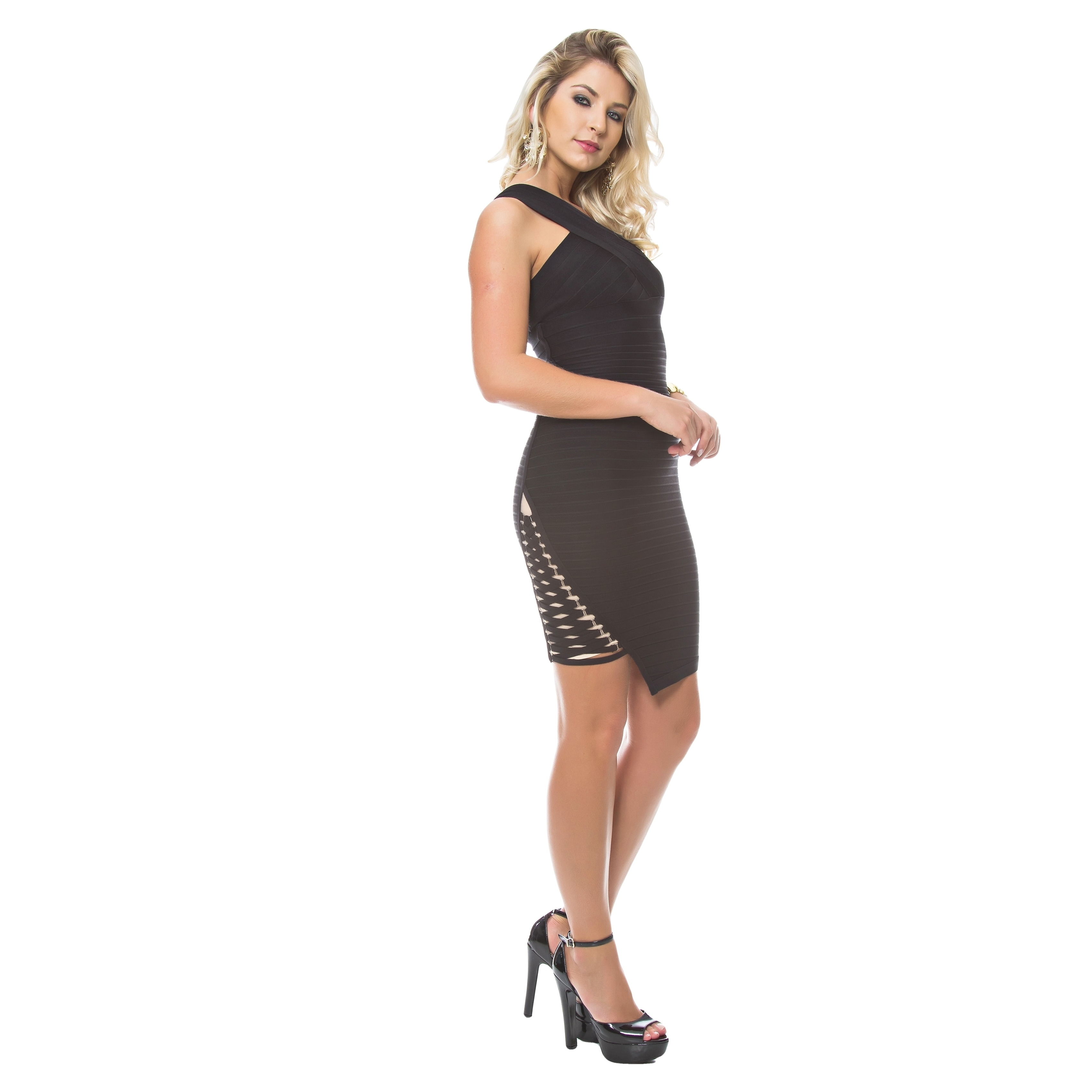 Sara Boo One Shoulder Bandage Dress with Lace-up Detail (...