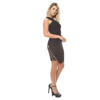 Sara Boo One Shoulder Bandage Dress with Lace-up Detail