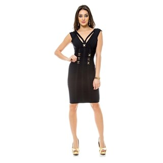 Sara Boo Embellished Bandage Dress with Cutout Back