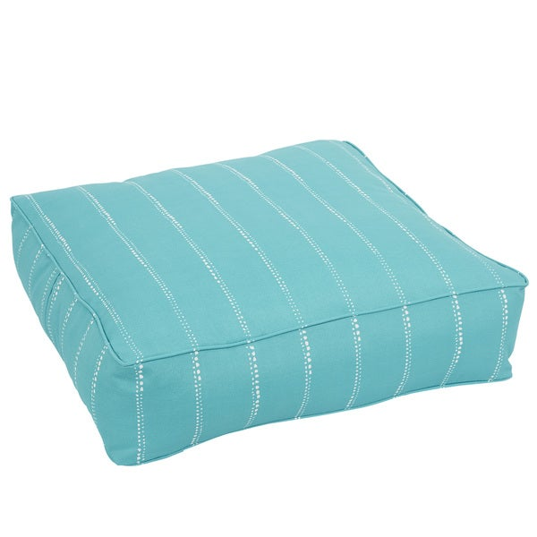 Caldwell Aqua Dotted Stripes Indoor/ Outdoor 26 Inch Corded Floor Pouf