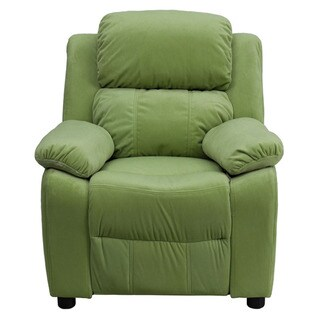 Offex Deluxe Heavily Padded Contemporary Microfiber Kids Recliner with Storage Arms
