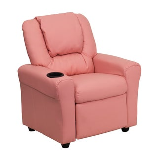 Offex Contemporary Vinyl Kids Recliner With Cup Holder And Headrest
