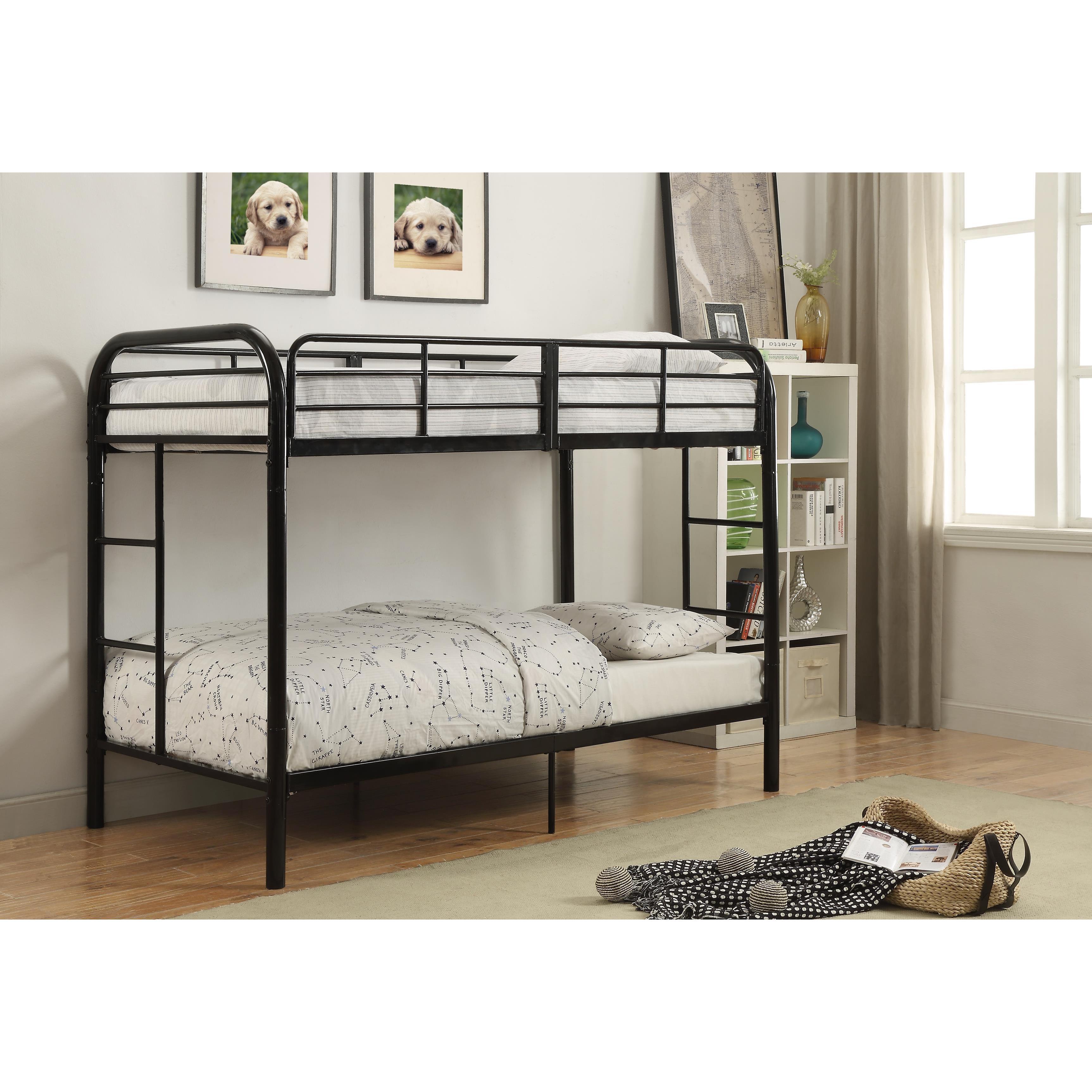 ACME Furniture Thomas Black Metal Twin-Over-Twin Bunk Bed...