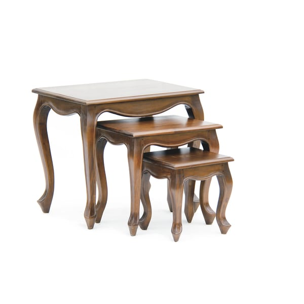 NES Fine Handcrafted Furniture Solid Mahogany Wood Queen Anne Nesting Tables    24 Inches
