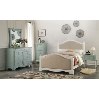 Acme Furniture Morre Beige/White Fabric/Pine/MDF Bed (2 options available)