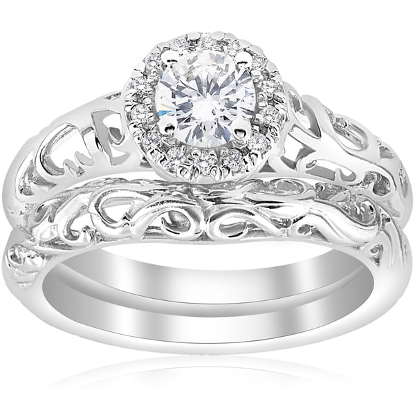 Shop 14k White Gold 5/8ct TDW Diamond Halo Engagement Ring