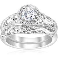 14k White Gold 5/8ct TDW Diamond Halo Engagement Ring Matching Wedding Band Vintage Filigree Set (I-J,I2-I3)