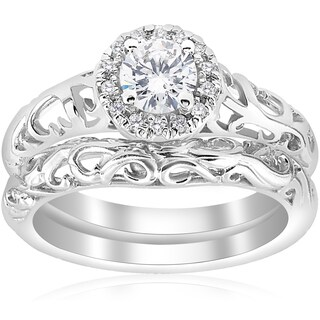 14k White Gold 5/8ct TDW Diamond Halo Engagement Ring Matching Wedding Band Vintage Filigree Set (I-J,I2-I3)