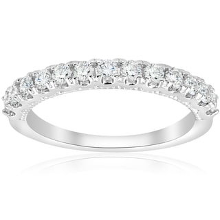 14k White Gold 1/2ct TDW Diamond Women's Wedding Stackable U Prong Vintage Accent Ring (I-J, I2-I3)