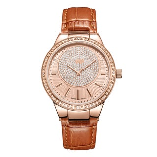 JBW Women's Camille J6345D Genuine Leather Diamond Watch - Gold