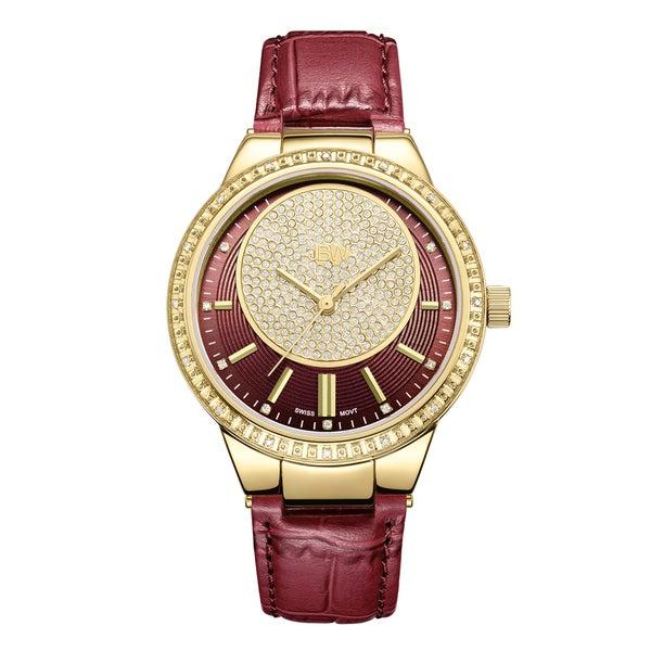 7cfe76a4cd11 Shop JBW Women s Camille J6345A Genuine Leather Diamond Watch - Gold ...