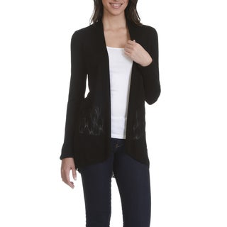 89th & Madison Women's Pointelle Hem Flyaway Cardigan