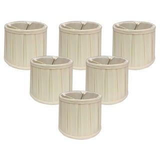 Royal Designs Eggshell Fabric 6-inch English Box-pleat Chandelier Shades (Set of 6)