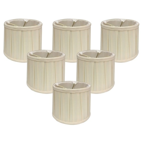 "Royal Designs Eggshell English Box Pleat Chandelier Shade, 5"" x 6"" x 4.5"", Clip On-Set of 6"