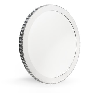 Crystal and Steel Round LED Wall Mirror